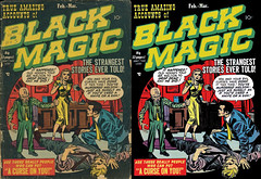 Black Magic, Before and After final (kevin63) Tags: lightner comicbook cover horror blackmagic jackkirby joesimon 50s 1950s precode photoshop retro retouched restored old antique vintage curse dead man woman murder