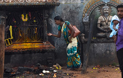 Offering to the Goddess Kali (Rick Elkins) Tags: kali kālikā goddess hindu devi mother tamil tamilnadu india temple woman man baby family worship offering religion southernindia puducherry
