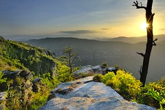 "A ""Gorge""ous View... (VonShawn) Tags: landscape nature sunset gorge northcarolina linvillegorge jonasridge jonasridgetrail tablerock mountainstoseatrail thechimneys sunstar sunburst trees rocks boulders mountains"