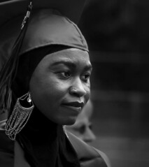 (bluechromis1) Tags: realworld candid unposed graduation college student headscarf monochrome blackandwhite canont3i canonef85mmf18lens commencement capandgown mthoodcommunitycollege blackwhite lowkey