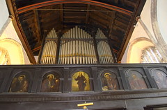 Gallery paintings of Saints + pipe organ (gil278) Tags: stjohnonthewall bristol church organ city gate saints gallary
