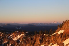Crater Lake (elisecavicchi) Tags: crater lake pacific northwest pnw oregon sunrise dawn early first light horizon mountain snow capped haze glow mountainside slope layers sky gold national park caldera volcanic