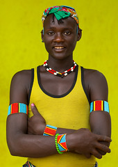 Portrait of a Bana tribe young man with a yellow shirt, Omo valley, Key Afer, Ethiopia (Eric Lafforgue) Tags: abyssinia adult africa bana banna beautify benna closeup colorimage colorful eastafrica ethiopia ethiopia0617255 ethiopianethnicity ethnic ethnology hamer headshot headwear hornofafrica keyafer lookingatcamera man multicoloured necklace omo omovalley oneadult oneadultonly oneman onemanonly onepersononly ornament portrait realpeople smile snnpr tribal tribe tribesman vertical waistup yellowbackground et