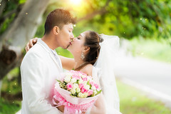 Couple just wedding hug and kiss in nature background (anekphoto) Tags: asian wedding couple bride groom marriage happy romantic young beautiful love female woman man wife husband portrait day park people girl summer white adult kiss india indian thai thailand romance chinese male married smiling two kissing together suit passion nature green vietnamese hugging asia engagement gown veil affectionate embracing cheerful