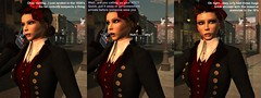 The Clueless Time Traveler (alexandriabrangwin) Tags: alexandriabrangwin secondlife 3d cgi computer graphics virtual world photography comic funny silly time traveller portal sim mobile phone call future mondybristol htc one x9 berlin old style elegant lady clueless realisation lightbulb moment brickphone