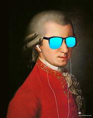 Modern Mozart with sunglasses 1 (cygenta) Tags: wolfgang amadeus mozart opera hawkers airpods earpods iphone ipod apple gradient degradado fondo wallpaper color neon