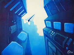 Escape (robinhoepfinger1) Tags: oil painting blue paperplane air