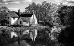 The Haywain (fred@fredadams-photography.com) Tags: constable dedhamvale riverstour willylottscottage blackwhite country countryside iconic landscape mono monochromatic river rural suffolk