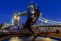 Blue Hour (George Plakides) Tags: girl tower bridge shard water fountain dolphin flares sunstar bluehour davidwynne thegirlwiththedolphin