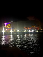 Late night view (santoscinderella) Tags: purple red bay windy iphone city florida mysterious black deep ocean water darkwater reflection shine bright colors lights theatre design architecture buildings photography shot beautiful night late after dark view miami arena miamiairlinesarena