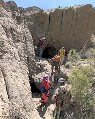 026 Climbing To The Entrance Of Cathedral Cave (saschmitz_earthlink_net) Tags: 2017 newmexico sanjuancounty angelpeakscenicarea kutzcanyon badlands mudstone cave entrance cathedralcave