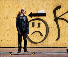 Against the Tide (Hindrik S) Tags: skateboard leather lear leer leder people candid human humanbeing minske mensch mens strjitfotografy streetphotography straatfotografie street strjitte straat transport smiley emoticon sign teken fence wall sket schutting sonyphotographing sony sonyalpha tamron tamronaf16300mmf3563dillvcpzdmacrob016 16300 2017 a57 α57 slta57 streetphoto