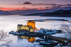 Looking Back (at the 'right' side) of Eilean Donan (Stoates-Findhorn) Tags: 2015 alsh castle dornie duich eileandonan loch scotland snow twighlight winter highland reflections unitedkingdom