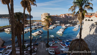Boats lined up in Dubrovnik harbour