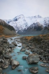 Mt Sefton and the Footstool. (PalmyLisa) Tags: muellerriver hookervalley mtcook southisland newzealand river mountains snow cold ice scenery views outdoors rocks bridge swing