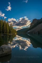 DSC07143_hdr (www.mikereidphotography.com) Tags: banff lakemoraine canadianrockies reflection moraine water trees landscape sunrise