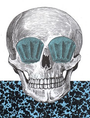 june 23rd, 2017 (kurberry) Tags: collage collageaday analoguecollage vintageephemera skull pandoro blue