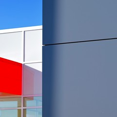 Urban Abstract No 44 (llawsonellis) Tags: modern modernarchitecture abstractures urban urbanabstract minimal crop selection red white blue line linear grid windows wall facade rhythms square squareformat nikon nikond5300 shadows reflections