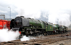 Tyseley cavalcade (explore) (Andrew Edkins) Tags: clouds green tripleheader heritage vintagetrains light england uksteam geotagged pacific graffiti explore lms stanier greatwestern gwr 5043 4965 46233 duchessofsutherland roodashtonhall earlofmountedgcumbe tyseleyopenday tyseley birmingham westmidlands cavalcade steamtrain canon railwayphotography summer 2017 june steam castleclass hallclass coronationclass
