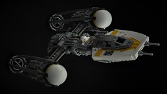 BTL-A4 Y-wing - In Flight (1) (Inthert) Tags: lego moc star wars btl a4 y wing fighter rebel alliance gold squadron koensayr manufacturing greebling rogue one new hope space