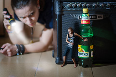 Beer thief (Ekaterina Toseva) Tags: experimental photomanipulation photoshop edited creative portrait selfportrait nikon d7000 samyang mf manual bokeh depthoffield dof beer bulgarian hiding flashlight light beam thief shining tokina1116 shadows contrast vignette indoors searching bottle 85mm 14 wide open behind little person small tiny