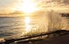 Wave Splash near Queen's Surf (Steven W Lum) Tags: waikiki queenssurf crashingwave wavesplash sunset