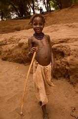 Dassanech Girl (Rod Waddington) Tags: africa african afrique afrika äthiopien ethiopia ethiopian ethnic etiopia ethnicity ethiopie etiopian omo omovalley outdoor omoriver omorate dassanech tribe traditional tribal girl child cultural culture river donga stick