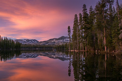 Colors over Wright's Lake (Middle aged Nikonite) Tags: wrights lake california sunset reflection nikon d7200 outdoor landscape trees mountains water scenic peaceful nature tranquil stillness evening glow colors