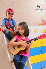 Rockstars Celebrating Eid (hisalman) Tags: kids people girl boy cute music fun entertainment colors children family guitar hisalman hisalmanphotography canon yellow blue