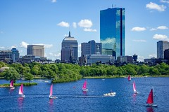 Pink Sails on the Charles ((Jessica)) Tags: pinksails sailboats newengland sky sonyrx100v river charlesriver sonyrx100 massachusetts water cambridge summer pinksailboat boston clouds pinksail sailboat sony backbay