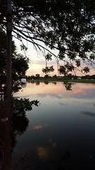 At dusk (jaym812) Tags: creek bigtimbercreek westville westvillenj clouds dusk sunset june 2017 water boat