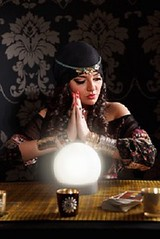 Portrait of a beautiful fortune-teller (Cartomancienne) Tags: woman young beautiful serious focus concentrate working portrait fortuneteller praying vaticinatress message forecast soothsaying foretell foretold prophetess fortunetelling witch religious ritual cartomancy crystalball sphere reading tarot card crystalgazing accessories costume headscarf jewelry intense makeup dark mystery mysterious crystalseeing astrology palmistry scrying translucentball belief culture gypsy mythology augur hungary
