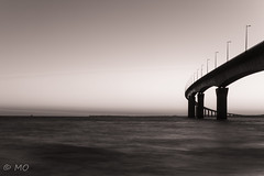 Crossing the sea (mathieuo1) Tags: sunrise bridge ilederé france nature island europe nikon morning early panorama wide wideangle crossing sea ocean atlantic tones soft smooth blur mist monochrome landscape seascape horizon shore shadow shape geometry lines architecture construction composition nikonfr dlsr discover hdr d5 wave highway water beach sun digital mathieuo