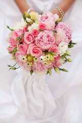 Bride with bouquet, closeup (jvnz) Tags: accessory beautiful beauty color decoration design floral flower vibrant wedding abstract arrangement background blossom bouquet bridal colorful elegance engagement leaf love macro marriage married occasion pastel plant reception romance romantic hand holding dress bride white rose holiday human events peony pink bud ukraine