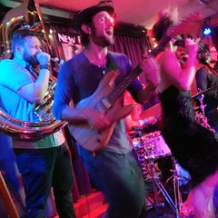 7/8 Black Masala at the New Deal Cafe (Karol A Olson) Tags: blackmasala band sousaphone newdealcafe dance project3652017 mdpd2017 trombone trumpet saxophone guitar hey jul17