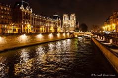 Cathédrale Notre-Dame de Paris on the Seine (Michael Guttman) Tags: seine paris france river night notredame cathedral reflections water lights cathédralenotredamedeparis