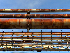 Old pipeline (qwwert223) Tags: factory industry old rusty abandoned rust pipe pipeline sky metal steel