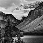 Mountainsides and Glacier in the Canadian Rockies (Black & White, Banff National Park) thumbnail