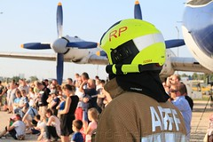 Airport Fireman with the visitors in the background during the emergency demonstration (KristofCs) Tags: aeropark budapest opening ceremony museum airplane openair repülőgép múzeum ferihegy repülőtér airport arff fireman fireservice