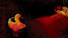 Gold dust / Artist : Mistero Hifeng (Bamboo Barnes - Artist.Com) Tags: misterohifeng secondlife art virtualart digitalart surreal wall red gold bars metal crack light shadow black yellow green vivid contrast bamboobarnes texture