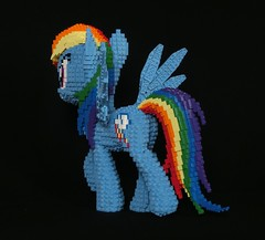 LEGO Rainbow Dash (technoandrew) Tags: lego rainbow dash my little pony brony pegasus pegasister cartoon character model sculpture custom creation moc design blue wings black friendship is magic g4 generation 4 walking hoof legs ears cutie mark tail mane eyes mlp fan fandom grin grinning red yellow orange green purple pose