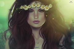 Delicate~Delicate flowers (Skip Staheli *FULLY BOOKED*) Tags: skipstaheli secondlife sl avatar virtualworld dreamy digitalpainting summer flowers portrait closeup redhead