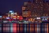 for rent on the Hudson (mudpig) Tags: neon manhattan nyc stevenkelley stevekelley mudpig yukonblizzard night reflection skyline westsidehighway hudsonriver waterway sign billboard apartmentbuilding building riversidedrive bridge riversidedrivebridge hdr