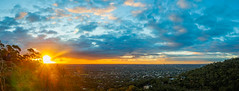 Adelaide Sunset (Anthony Kernich Photo) Tags: adelaide pano panorama panoramic view australia southaustralia sa city cityscape lookout image scene photo photography photogenic pic sun sunset sundown sky blue cloud clouds yellow orange olympus microfourthirds color colour vibrant olympusem10 olympusomd urban