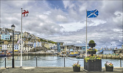 Brixham Harbour (PAUL Y-D) Tags: brixham water tide tidal boats trawlers quayside flags flagpoles