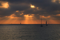 Sailboats at sunset -Tel-Aviv beach (Lior. L) Tags: sailboatsatsunsettelavivbeach sailboats sunset telaviv beach sea seascapes telavivbeach israel travelinisrael silhouettes boats sailing clouds cloudysunset