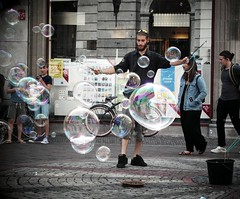 bubbles (gerben more) Tags: utrecht soapbubble man beard handsomeman artist square netherlands nederland people streetscene streetlife street