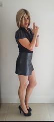 Leather Skirt + Pose (Juliette Noir) Tags: tg trans transvestite transgender cd crossdresser crossdress leather blonde