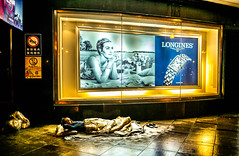 Happy dreams (Phg Voyager) Tags: leica mp 24mm guy boy street homeless sleeping add urban color outdoor onfloor night china shanghai phgvoyager rainy black gold urbanscape photography shoes blanket longines asia chinese megacity social reality