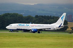 YR-BMH BOEING 737-800 (douglasbuick) Tags: aircraft boeing b737800 yrbmh blue air jet plane taxiing egpf glasgow airport aviation flickr scotland airliner airlines airways romanian nikon d3100